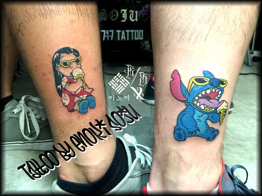 Stiched Leg Tattoo: His And His Matching Lilo Stitch Tattoo By Enoki By