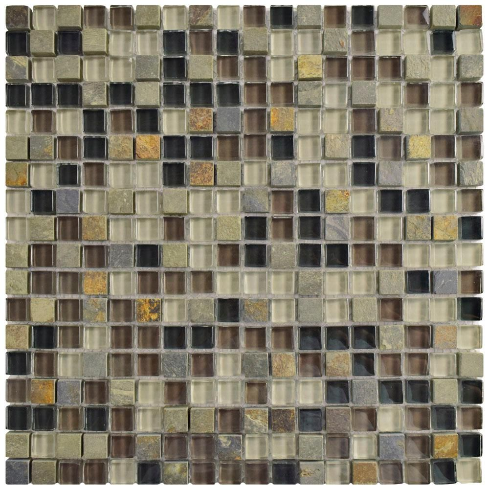 Merola Tile Tessera Mini Stonehenge 11 3 4 In X 11 3 4 In X 8 Mm Glass And Stone Mosaic Tile Multicolored Grey And Brown Mixed Finish In 2019 Products