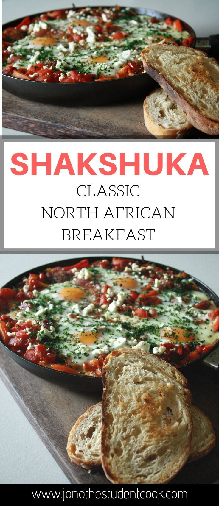 Easy Shakshuka recipe. A healthy breakfast from Morocco. #shakshuka #eggs #breakfastideas #breakfastrecipes #onedish #chorizo