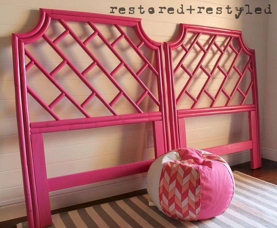 Vintage Bamboo Chinese Chippendale Twin Headboards Painted Sherwin Williams Exuberant Pink Facebook Redandrestyled