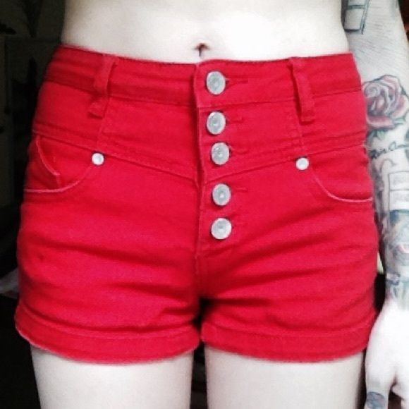 High waisted red denim shorts Vibrant red shorts. Super comfortable and stretchy. Slightly faded from wash. Jeans