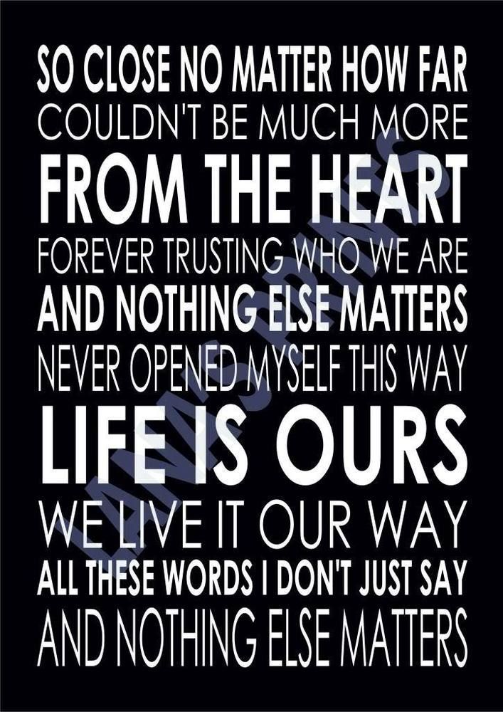 NOTHING ELSE MATTERS - METALLICA - Word Wall Art Typography - Song ...