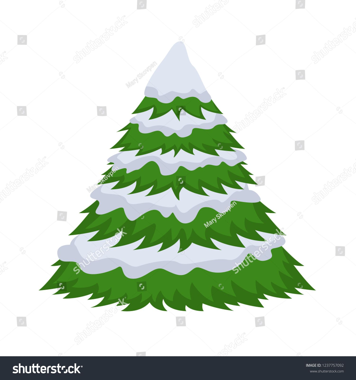 Christmas Tree In The Snow On A White Background Cartoon Flat Vector Illustration Christmas Tree White Background Christmas