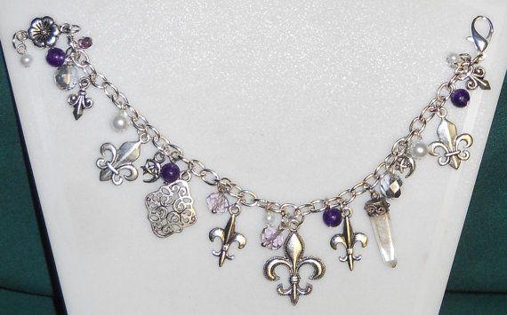 Silver w/ amethyst & pearls Fleur De Lis by DragonsHordeJewelry, $18.00