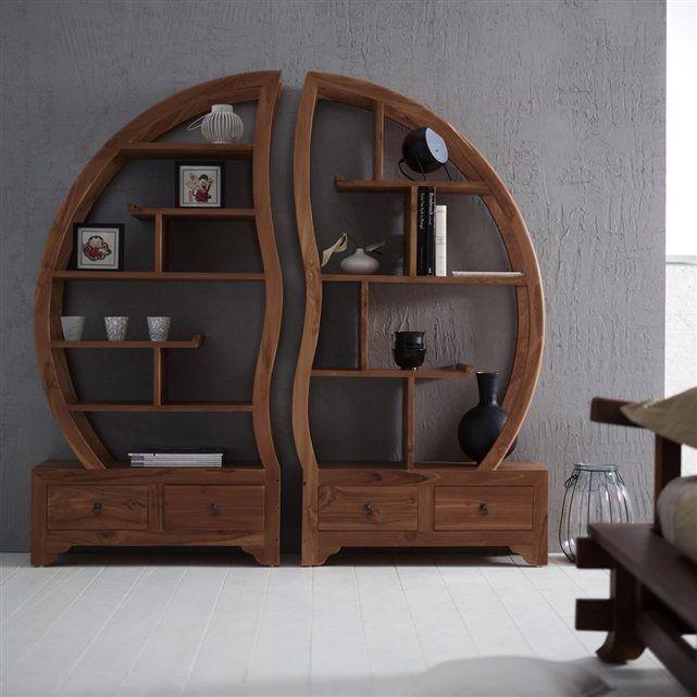 biblioth que en teck 155x155 sph re bi ying yang tikamoon. Black Bedroom Furniture Sets. Home Design Ideas