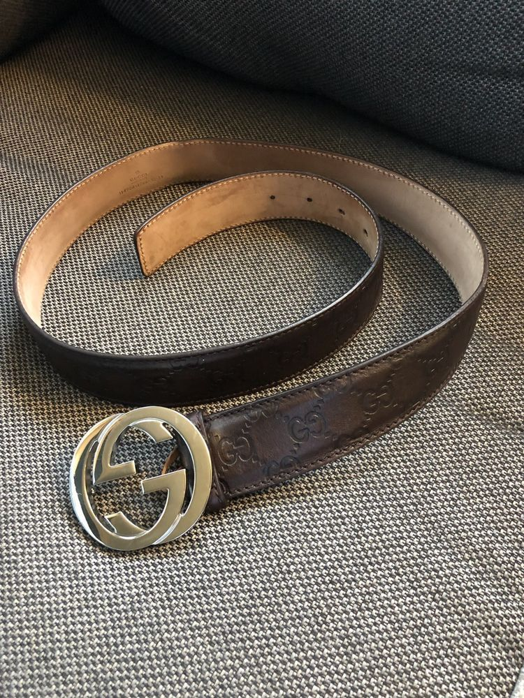 Authentic double gg brown mens gucci belt fashion