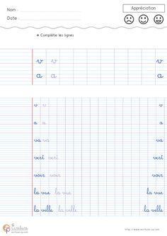 Feuille Fiche PDF Exercice d'écriture cursive cp à ...