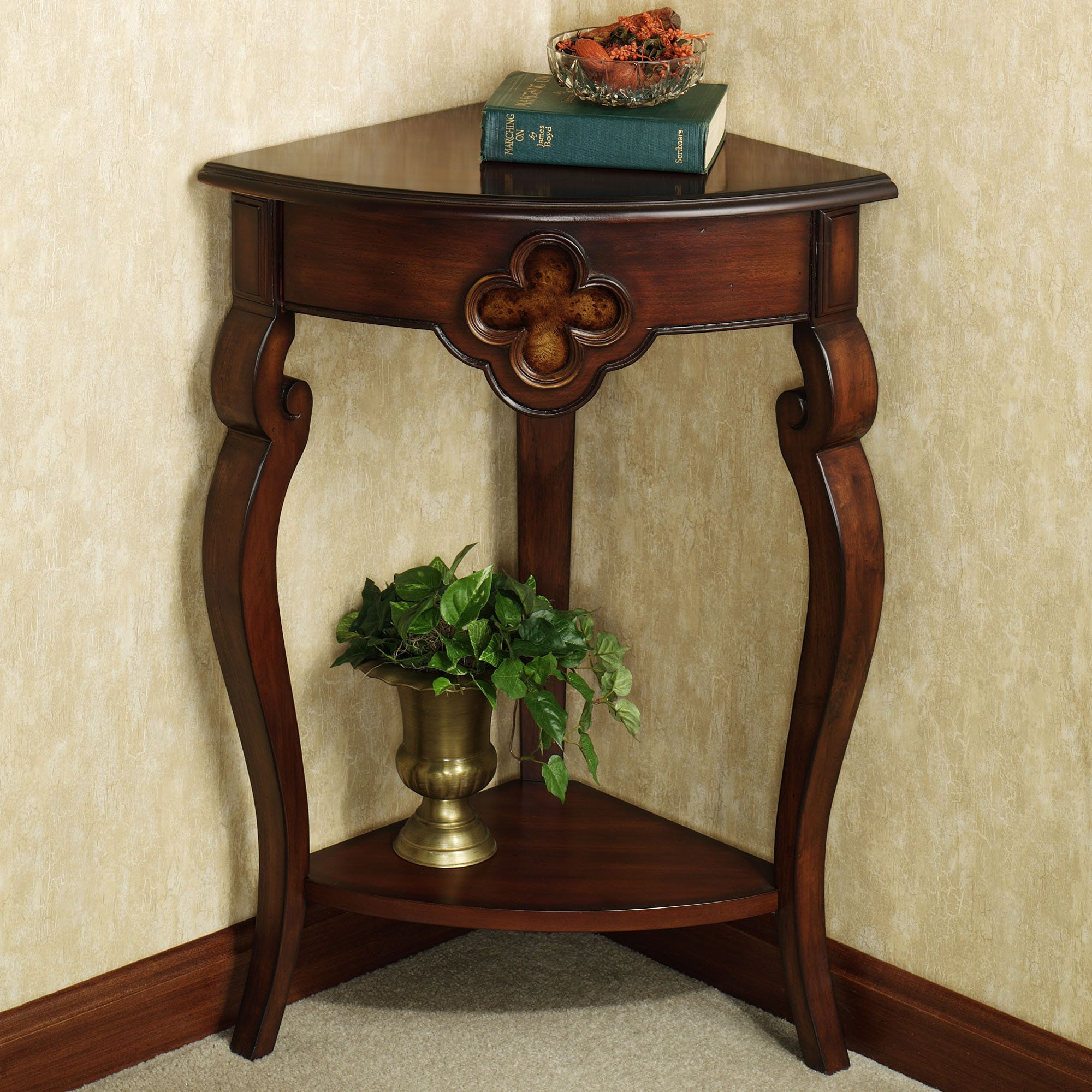 Hallway corner accent table home decor ideas corner - Corner tables for living room online india ...