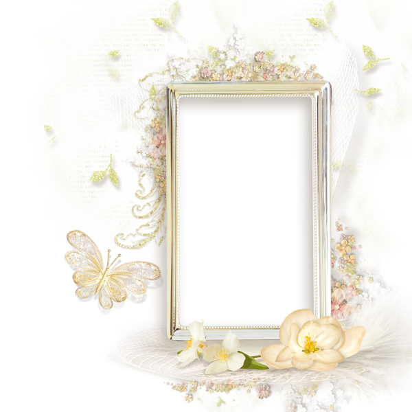 Beauty In Frame: Beautiful Cream Transparent Frame With Flowers