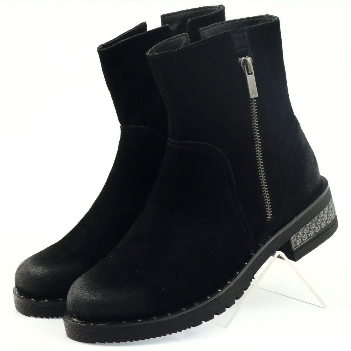American Club American Botki Buty Zimowe Zamszowe Czarne Boots Winter Boots Black Boots