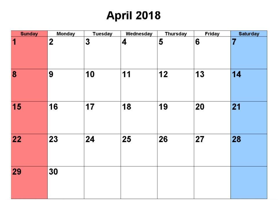 April 2018 Calendar Calendar Pinterest