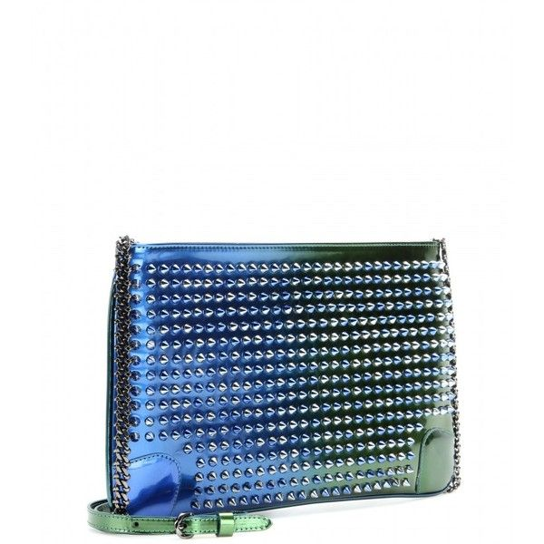 Christian Louboutin Loubiposh Studded Leather Clutch ($1,145) ❤ liked on Polyvore featuring bags, handbags, clutches, christian louboutin purse, studded leather handbag, white purse, studded leather purse and christian louboutin handbags
