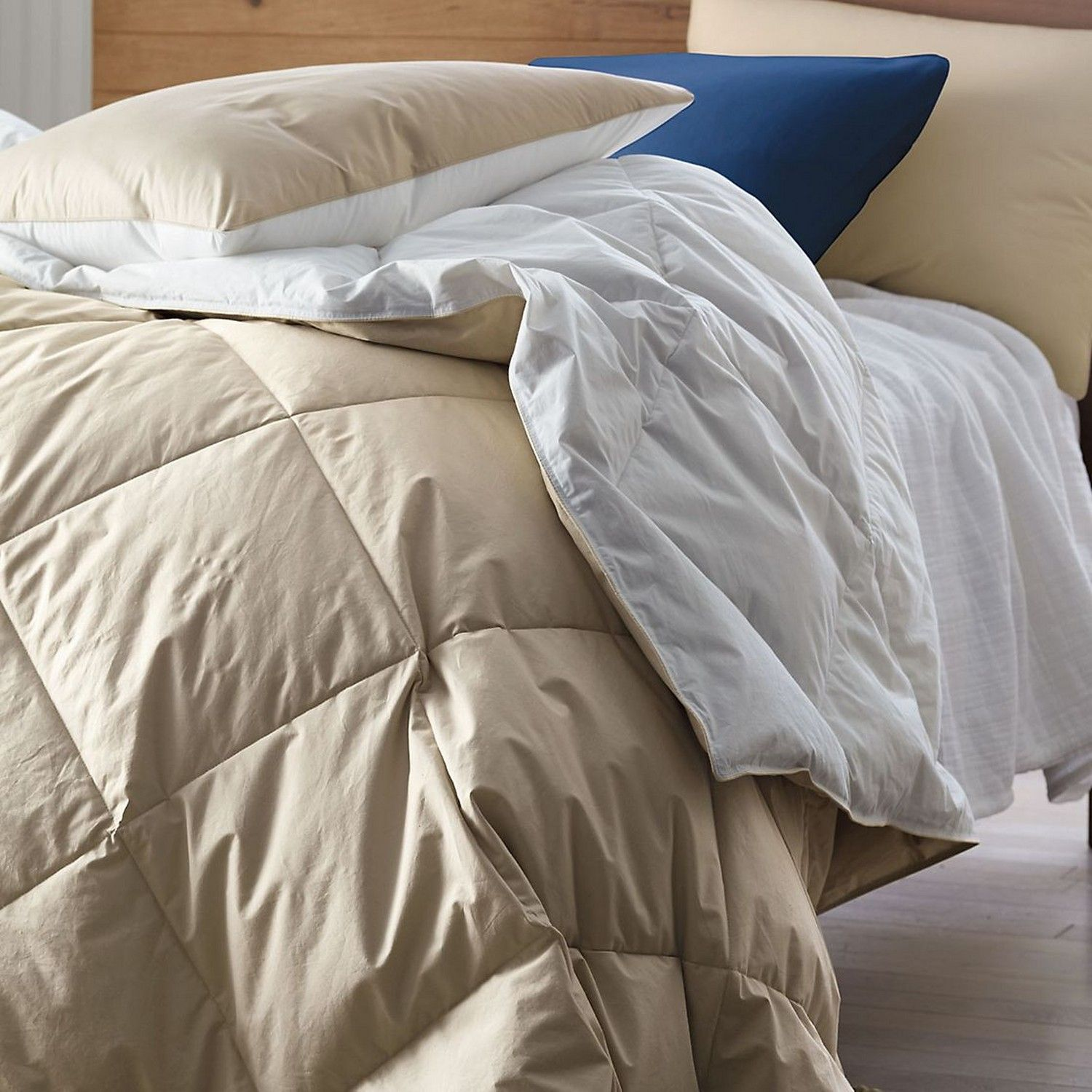 The Company Store: Hypoallergenic down or down-free comforter and sham. Reversible comforter…