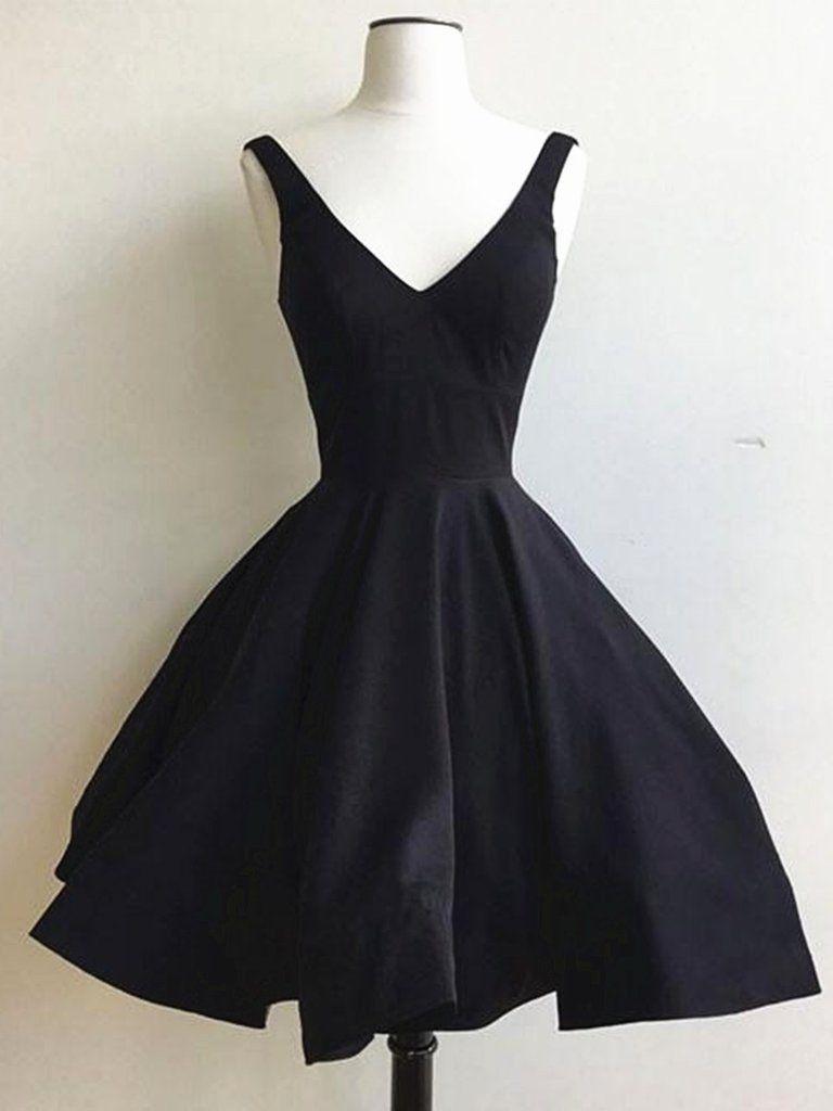 A line v neck short black prom dress short black graduation dress