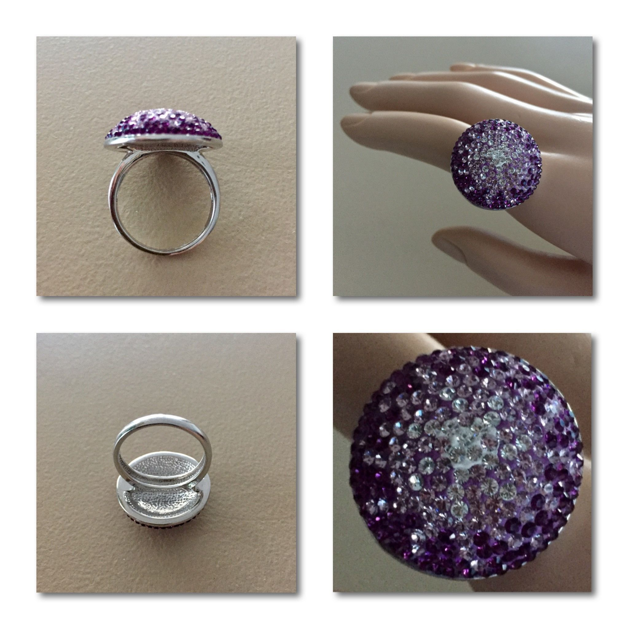 Starburst Design Crystal Cluster Cocktail Ring