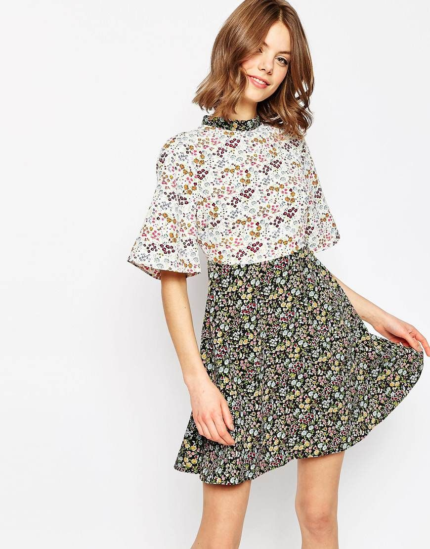 Ditsy Floral Printed Skater Dress Ditsy Floral Floral And Wardrobes