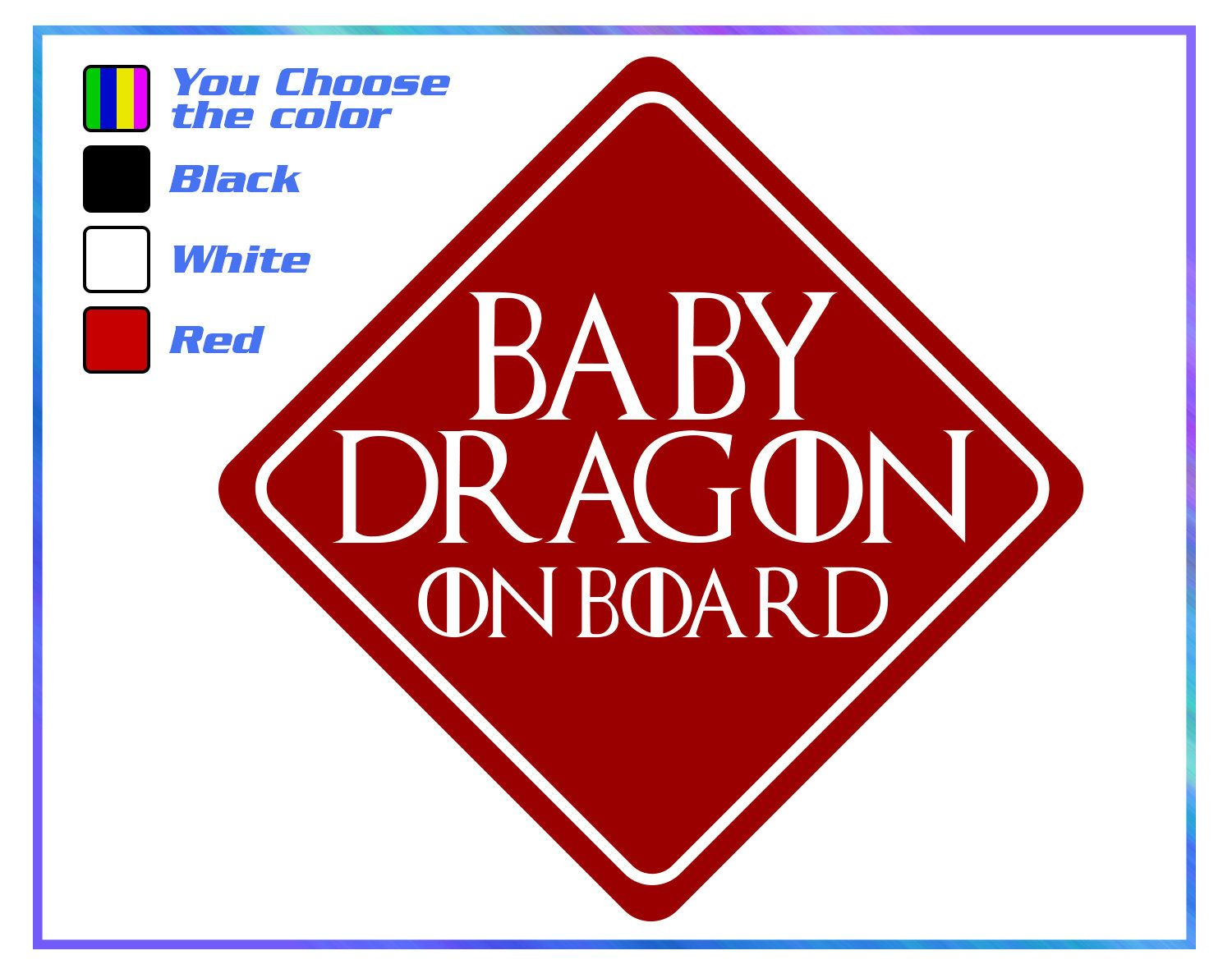 Game Of Thrones car decal Baby on board Baby Dragon on