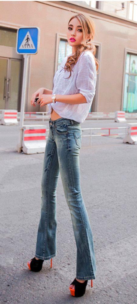 b3971e98bb4 Women wide leg Jeans stretch skinny ladies ripped Pants