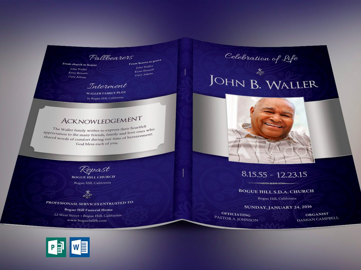 Dignity funeral program word publisher template 8 pages