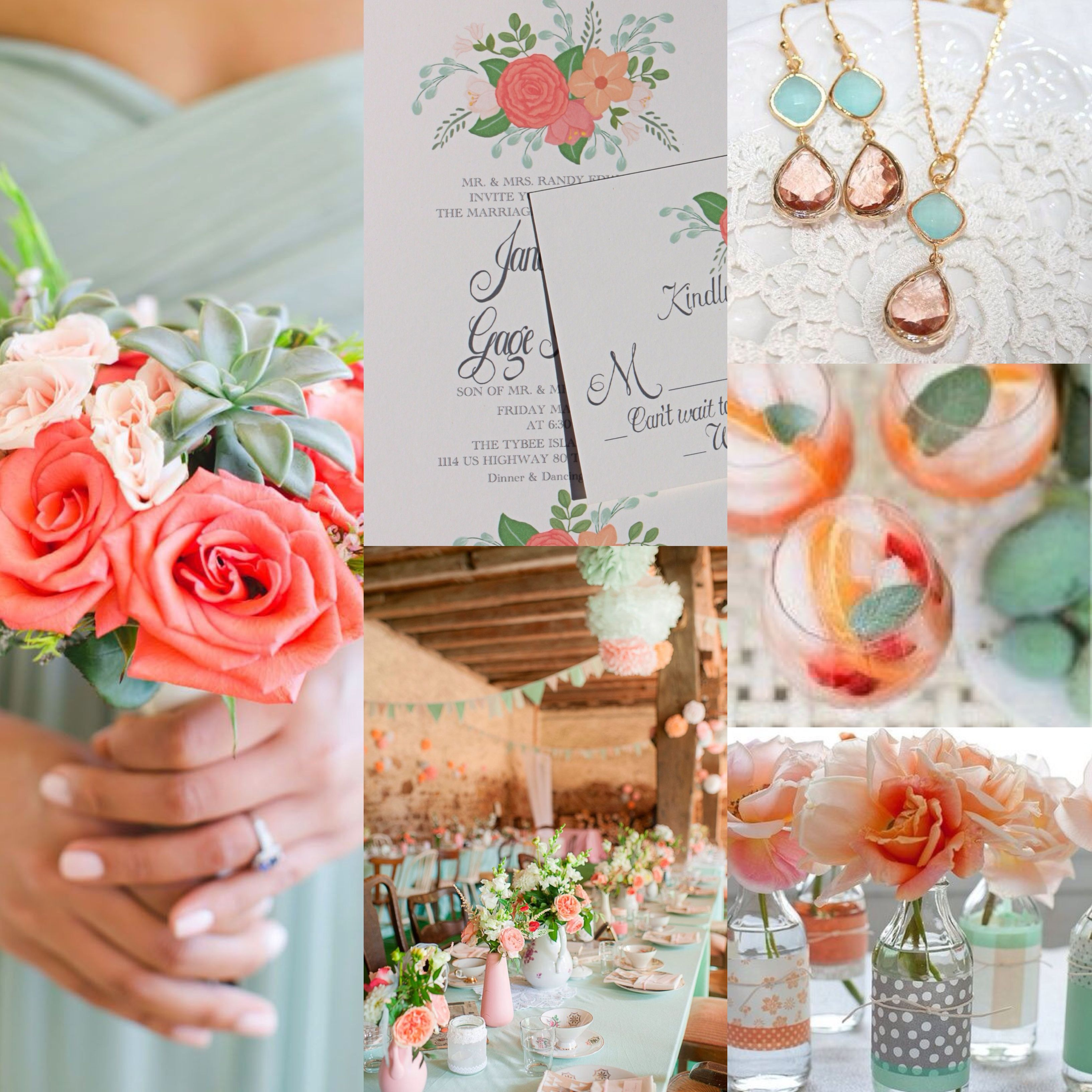 Stunning coral and mint green wedding invitation. Not your colors ...