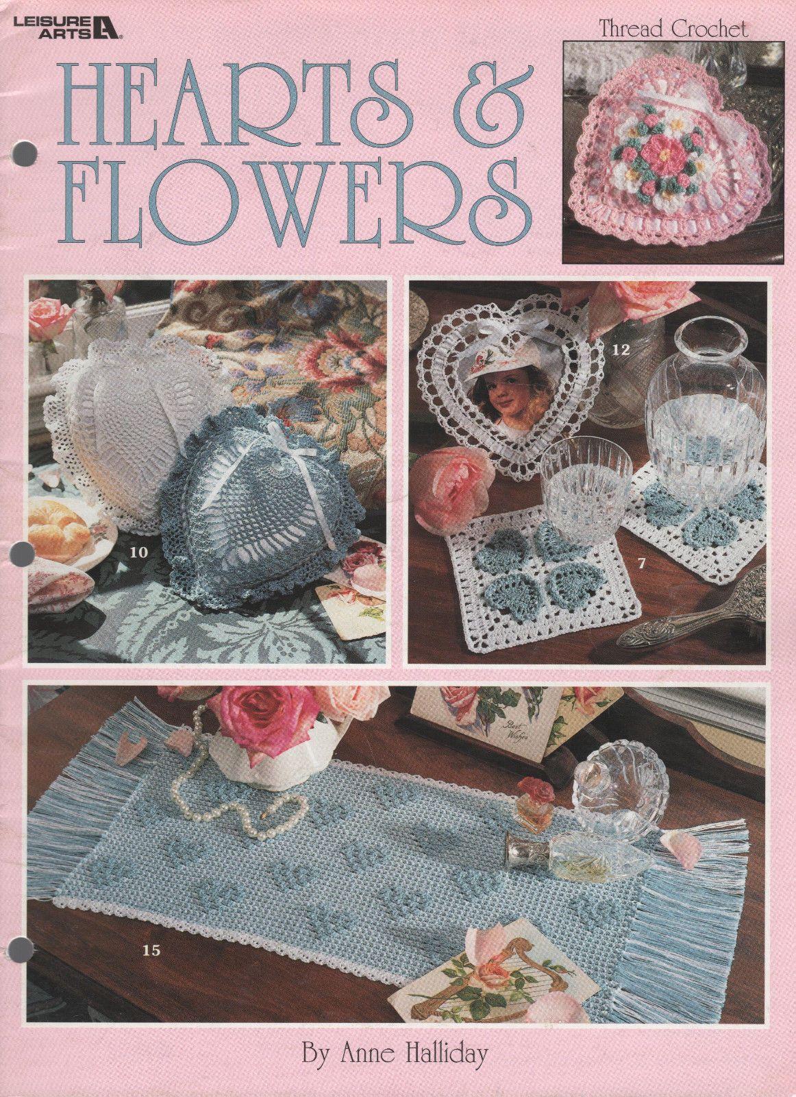 Hearts & Flowers Thread Crochet Patterns Sachets Doilies Pillows More   eBay