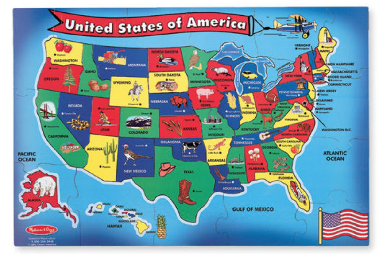 Melissa and Doug USA Map Floor Puzzle Usa map, Map