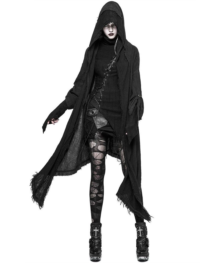 Black Hooded Punk Womens Gothic Cardigan Cloak Rave Post Long EvxUwxY6