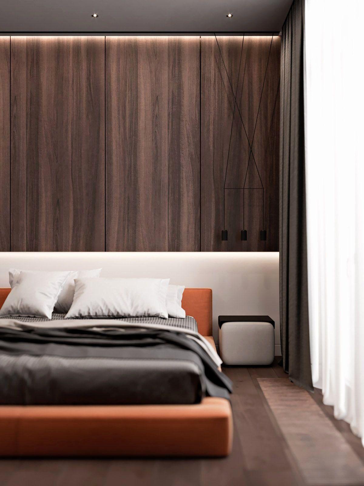 Bedroom With Orange Accents Luxury Penthouse Interior