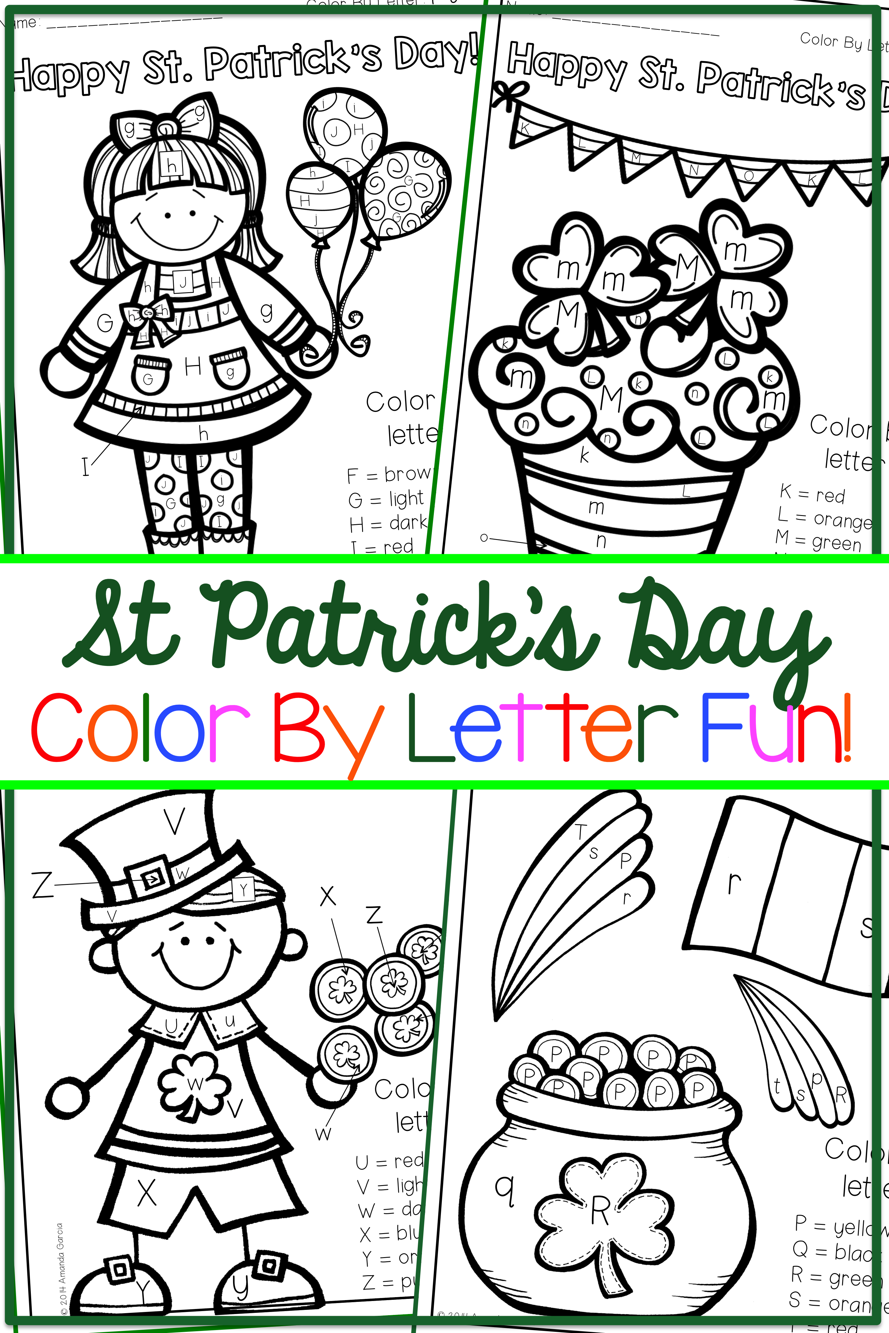 St. Patrick\'s Day Color By Letter | Santa patricia y Santos