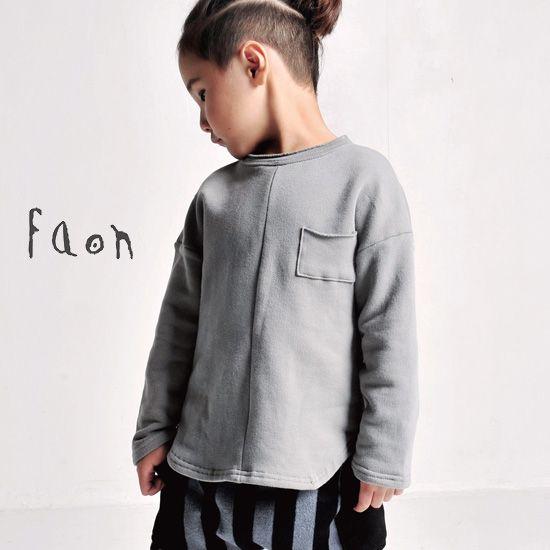 韓国子供服 FaOn (ファオン) ベーシックTee (裏起毛) 子供服 通販 ショップ-Dimplemoment (ディンプルモーメント) FaOn(ファオン) 虹色子供服