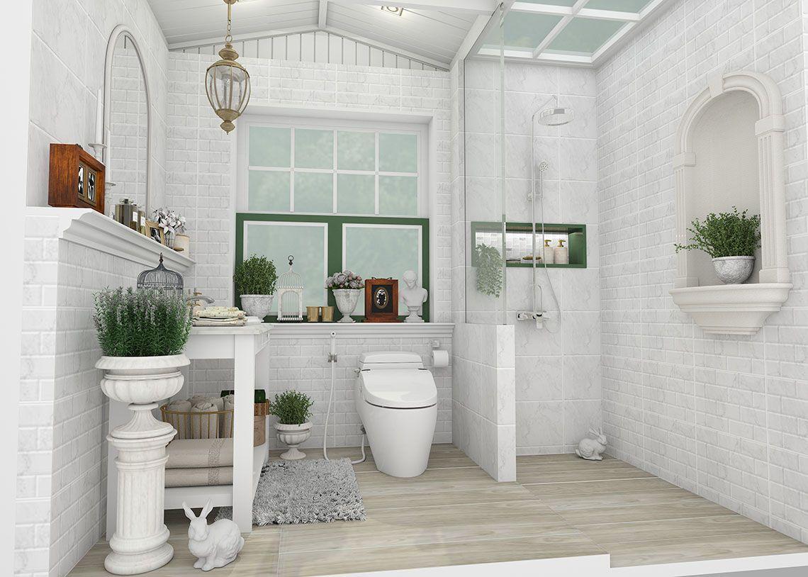 ร ปแบบห องน ำ ลายห นอ อนโทนส ขาว ท ให ความร ส กราวก บอย ในสวนสไตล อ งกฤษ Vintage Bathroom Bathroom Design Bathroom