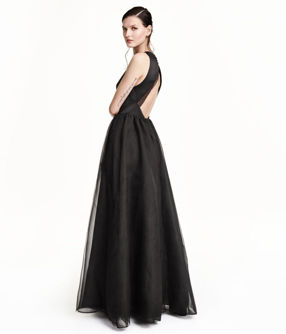 long sleeveless dress with bodice in woven satin and a flared