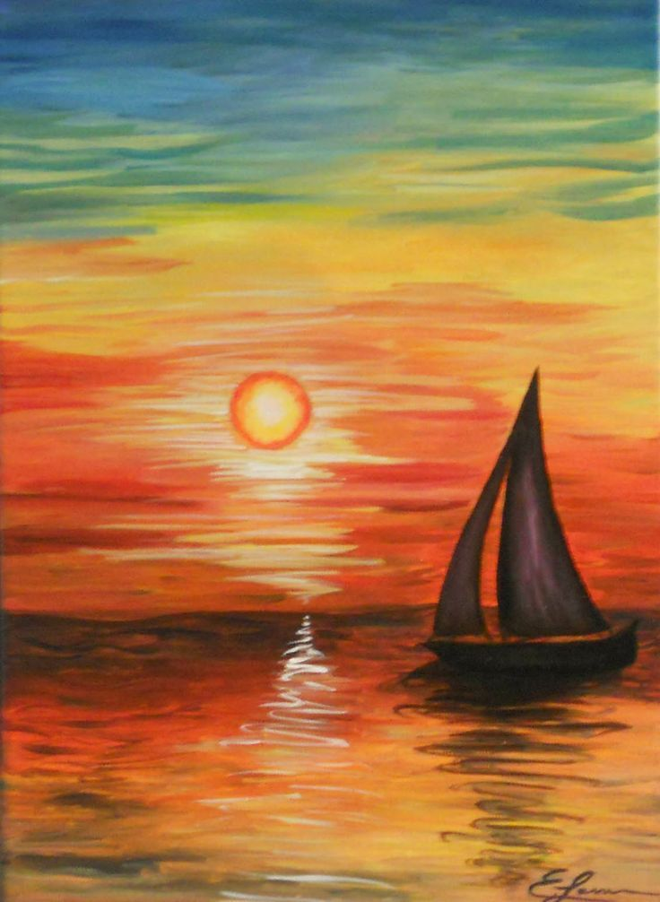 Sailboat At Sunset With Pretty Reflections On The Water And Colorful Sky Beginner Painting Idea