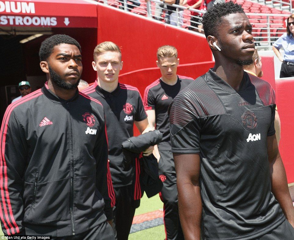 United youngsters (left to right) RoShaun WIlliams, Ethan