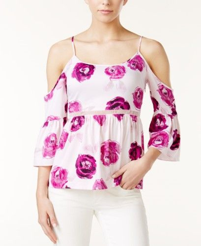 70a66d04c66ac8 Kensie Floral-Print Cold-Shoulder Top