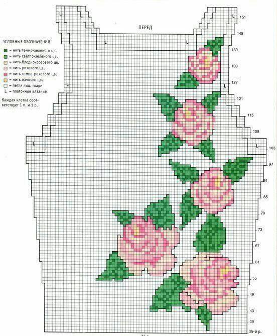Rose intarsia sweater pattern | Guardar | Pinterest