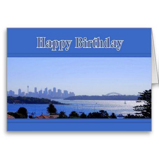 Sydney Australia Skyline Happy Birthday Card Zazzle Com Happy Birthday Cards Birthday Cards Happy Birthday