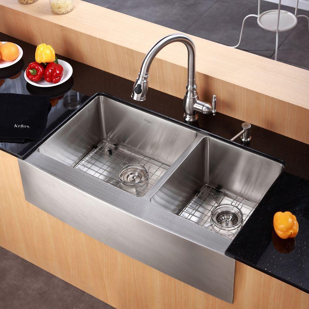 Kraus Standart Pro Farmhouse Apron Front Stainless Steel 36 In Double Bowl Kitchen Sink Khf203 36 The Home Spulbecken Design Kuchenumbau Waschbecken Design