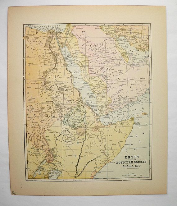 Vintage Egypt Map Saudi Arabia Yemen Map 1896 Antique Map Somalia