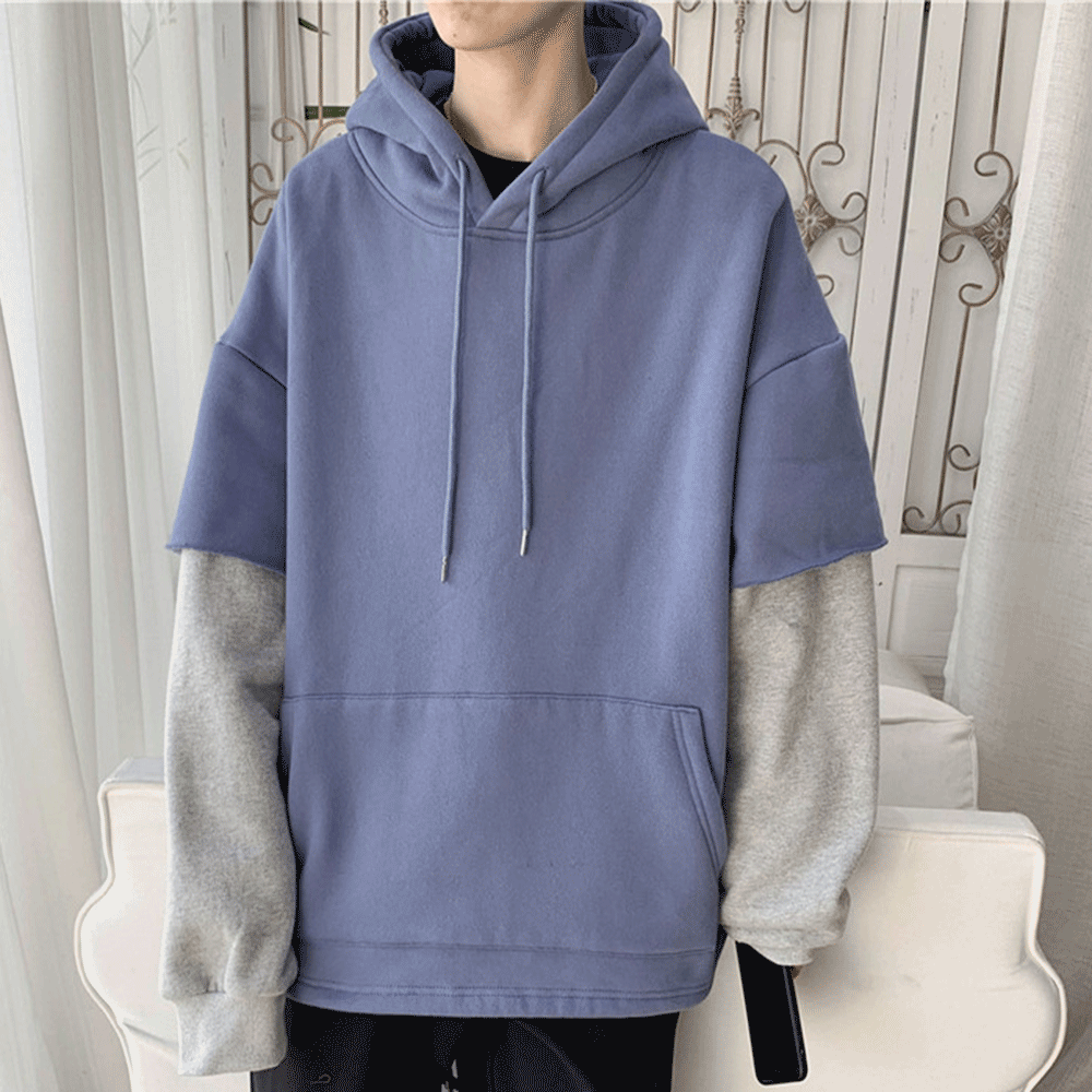 Blue Jikod Double Layers Long Sleeves Hoodie The Label Clothes Fashion Fashion Outfits [ 1000 x 1000 Pixel ]
