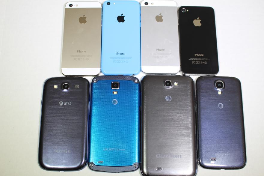 Apple iPhone 5S, 5C, 5, 4S vs Samsung Galaxy S4, S4 Active ...