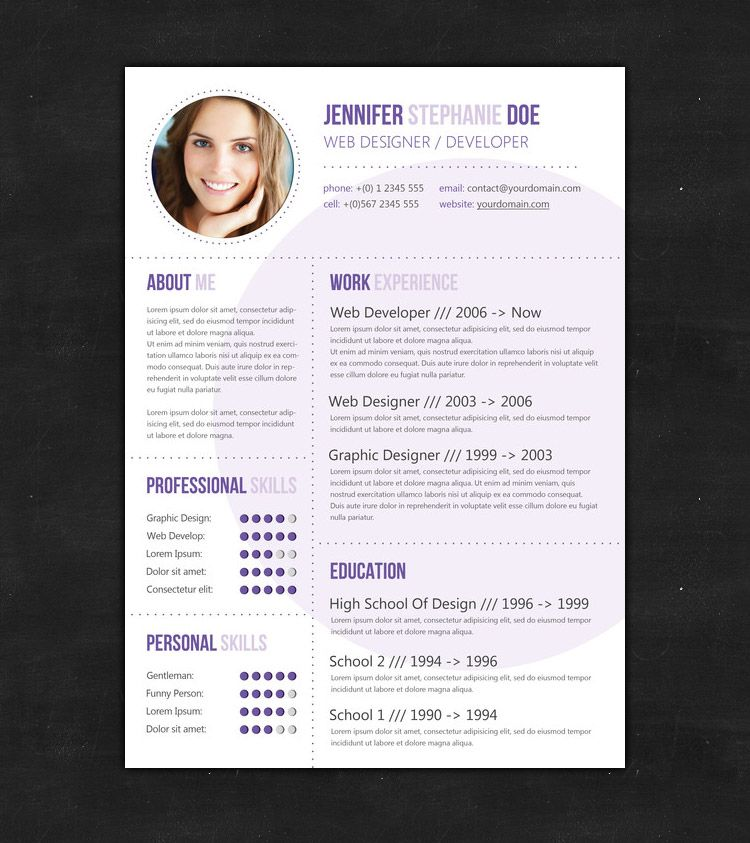 Purple Circle Resume  Design Ideas    Graphic Design