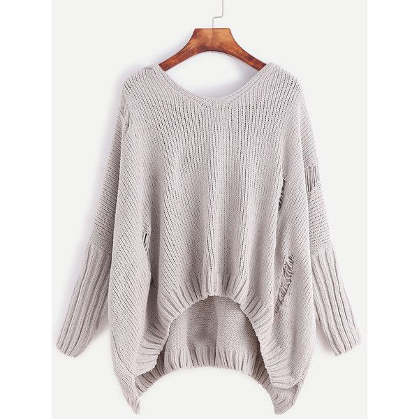 SheIn(sheinside) Pale Grey Ripped High Low Hooded Frayed Sweater ($25) ❤ liked on Polyvore featuring tops, sweaters, grey, pullover sweaters, hooded pullover, loose sweater, light grey sweater and loose pullover sweater