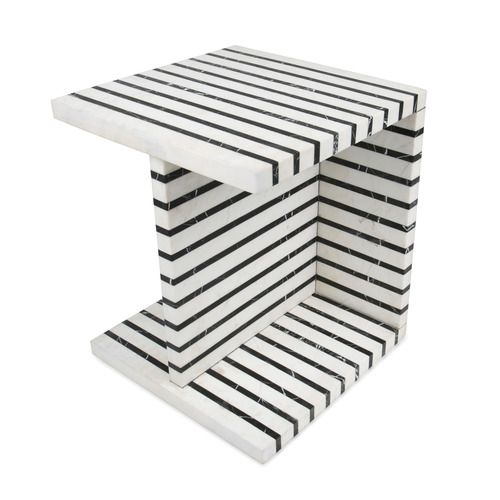 KELLY WEARSTLER | MELANGE OCASIONAL TABLE. Black and white striped marble occasional or end table is perfectly proportioned for use in a living room or lounge arrangement.