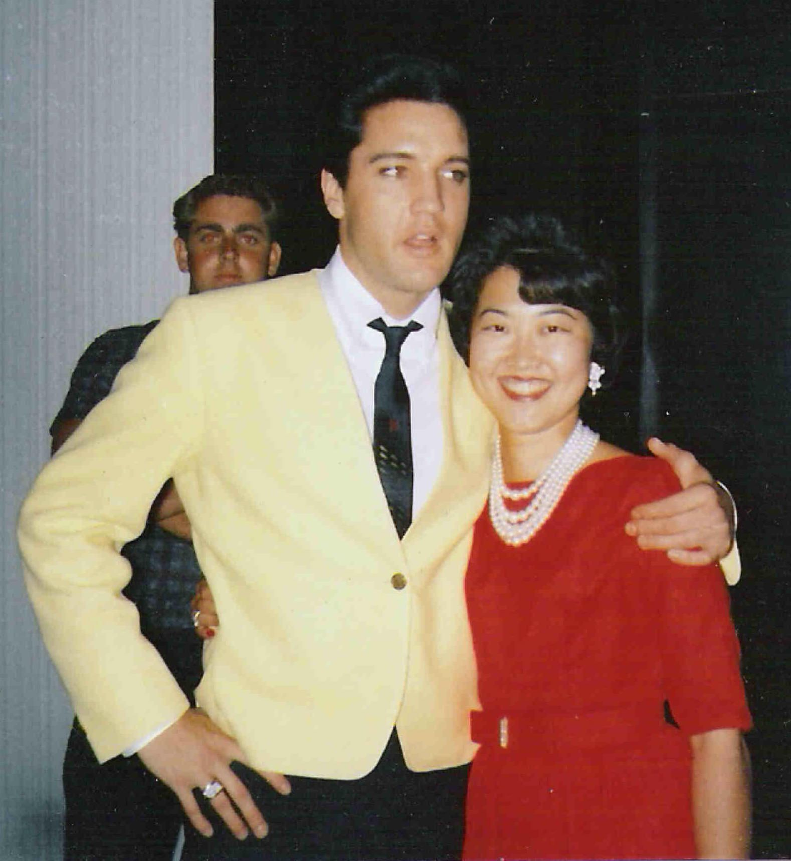 Elvis & Miriam at 525 Perugia Way, Bel Aire,CA 8-1963. He just arrived home after a day of shooting Viva Las Vegas. Awesome man with a heart as big as this universe. What megastar would invite a perfect stranger who knocked on his door in 7-1963 to come to his parties for the rest of the week since he doesn't start shooting Viva Las Vegas until the following week.