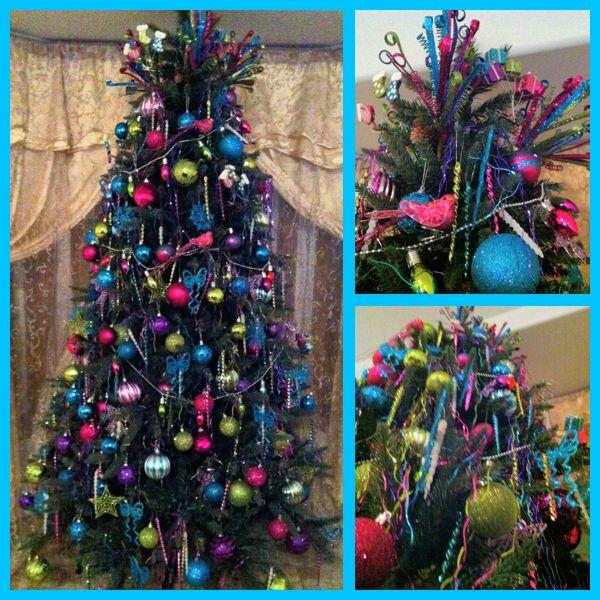 Our 1st Christmas Tree Purple Pink Blue Green Colorful Christmas Tree Colorful Christmas Tree Wreath Decor Christmas Holidays