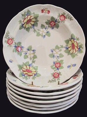 Laveno Richard Ginori Rimmed Soup Bowls ~ Eight ~ Floral