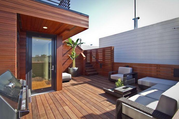 キッチンとbbqグリル付き サイコーに贅沢な屋上のテラスの屋外リビングスペース 屋上パティオ バルコニーのデザイン テラス