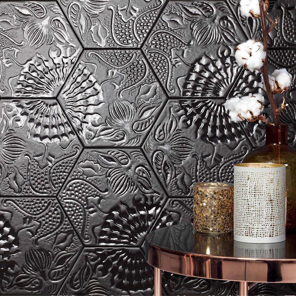 merola tile gaudi lux hex black 8 5 8