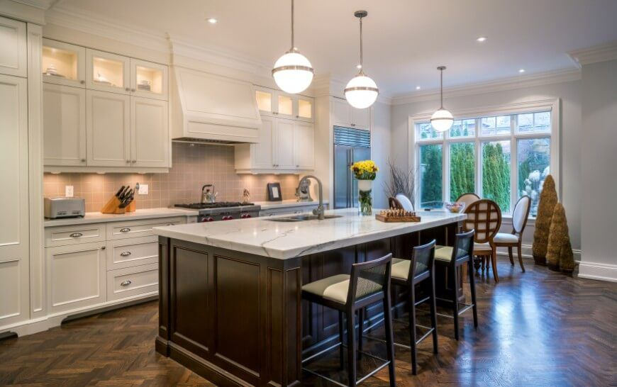 34 Kitchens With Dark Wood Floors Pictures Cream Colored Cabinets Marble Countertops And